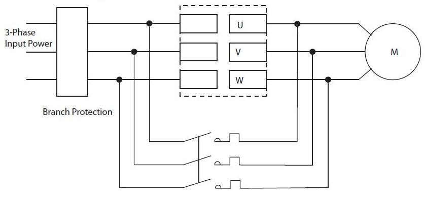 شکل 6 یک سافت استارتر با کنتاکتور بای پس خارجی