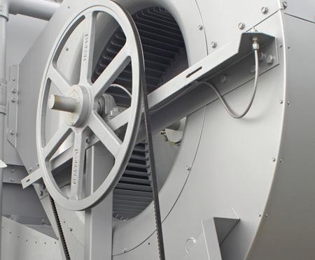 فن گریز از مرکز موتور دار و یک درایو دارای تسمه دندانه دار، با ابعاد مناسب کار خشک به عنوان شرایط استاندارد
