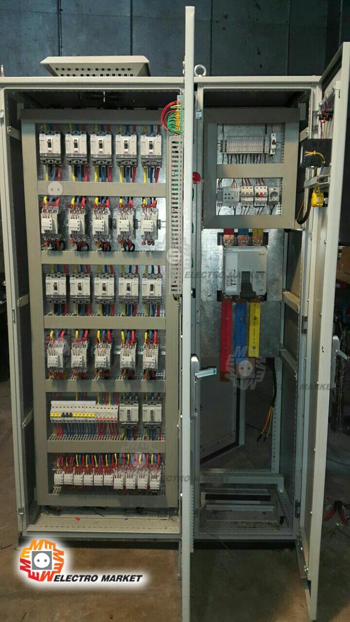سیستم کنترل و حذف هارمونیک های شبکه و اصلاح ضریب (تابلو خازن) و کیفیت برق با توان 1600 آمپر. نصب شده در شرکت کسری پلاستیک آقای تاجیک. طراحی و ساخت گروه مهندسی الکترمارکت.