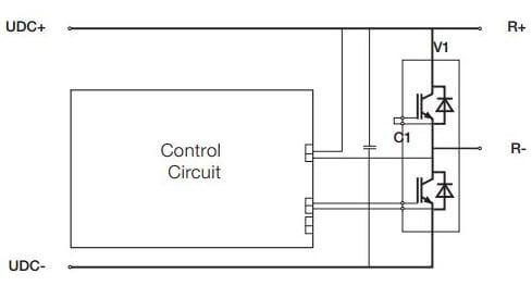 دیاگرام مدار مثالی از چاپر نرمز، UDC نشان دهنده پایانه های باس DC و R نشان دهنده پایانه های مقاومت است