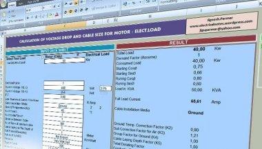 محاسبه سایز کابل با استفاده از نرم افزار اکسل