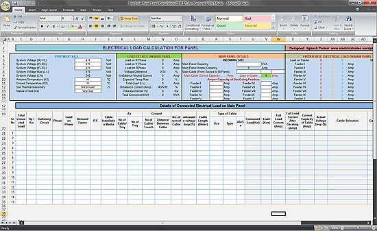 Calculate electrical load of panelboard excel spreadsheet for Apartment building cost calculator